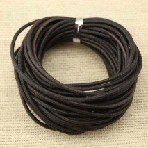 Aobei Pearl - 10 yards,Genuine leather cord,round original leather color2.0 mm leather cord,black leather cord,leather cord for jewelry, ETS-P014