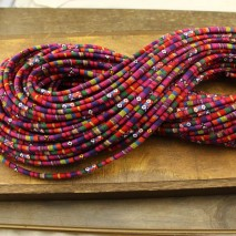 Aobei Pearl, 10 yards, 6 mm red rainbow bohemian cord, fabric cord, cloth cord, ETS-P080