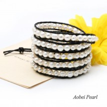 Aobei Pearl Handmade Wrap Bracelet with Smooth Leather & White Potato Freshwater Pearl, Pearl Bracelet, ETS-B0033-1