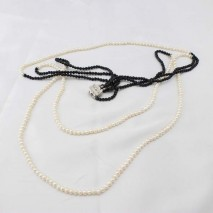 New knotted black leather genuine baroque freshwater pearl women necklac ETS-S025