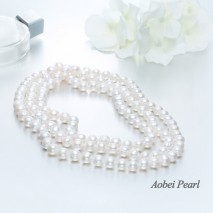 Aobei Pearl, Handmade Genuine Freshwater Pearl Necklace with White Cotton Thread, Elegant Wedding Necklace, Bridal Necklace, ETS-S033