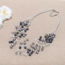 Fashion color cultured freshwater pearl handmade fashion girl necklace jewelry ETS-S052