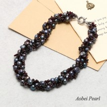 Aobei Pearl Handmade Necklace made of Freshwater Pearl and Natural Garnet, Pearl Necklace, Wrap Bracelet, ETS-S053
