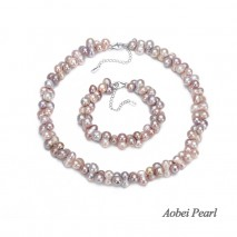 Aobei Pearl Handmade Necklace& Bracelet made of Freshwater Pearl and 925 String Silver Clasp, Pearl Necklace, Pearl Bracelet, Beaded Necklace, Jewelry Sets, ETS-S055