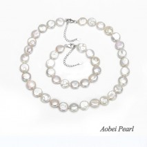 Aobei Pearl Handmade Necklace made of White Coin Cultured Freshwater Pearl and 925 String Silver Clasp, Pearl Necklace, Pearl Bracelet, Jewelry Sets for Women, ETS-S057