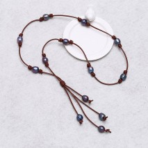 Aobei Pearl -  Freshwater Pearl Necklace Strand, Pearl Necklace, Leather Necklace, ETS-S082