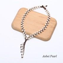 Aobei Pearl Handmade Necklace made of Freshwater Pearl & Genuine Leather, Braided Leather Pearl Necklace, Tassel Necklace, ETS-S085