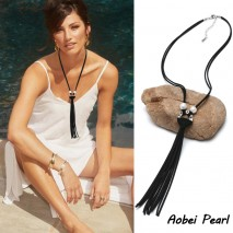 Aobei Pearl Handmade Necklace made of Freshwater Pearl and Korean Velvet, Pearl Necklace, Tassel Necklace, ETS-S097