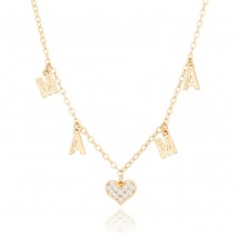 Aobei Pearl,18k gold plated chain heart Pendant letter chain Necklace,dainty Necklace, charm with round zirconia crystal,Jewelry for Women Necklace, ladies gifts ETS-S1050