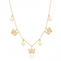 Aobei Pearl,18k gold plated link chain,dainty Butterfly star pendant dangling Necklace,Fashion Adjustable necklaces,Jewelry for Women Necklace, ladies gifts ETS-S1054