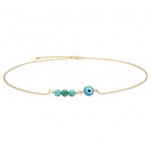 Aobei Pearl,18k gold plated evil eye and turquoise pendant necklaces,link chain,dainty pendant dangling Necklace,Fashion Adjustable necklaces,Jewelry for Women Necklace, ladies gifts ETS-S1061