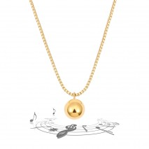 Aobei Pearl,18K Gold Plated Box Chain Necklace Harmony Ball Bola Musical Ball Pendant Necklace,Dainty Gold Necklace, ETS-S1069