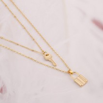 Aobei Pearl, 18K Gold Key and Lock Pendant Necklace, Dainty Gold Chain Layering Necklace, Adjustable Jewelry for Women Girls, ETS-S1095