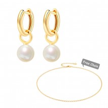 Aobei Pearl, Shell Pearl Drop Hoop Earring with Dainty Gold Cable Chain Necklace, Adjustable 18K Gold Jewelry for Women Girls, Earring and Necklace Sets, ETS-S1101