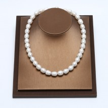 Aobei Pearl - Handmade Necklace with White Freshwater Pearl and Genuine Leather Cord, Beaded Necklace, Pearl Necklace, ETS-S111