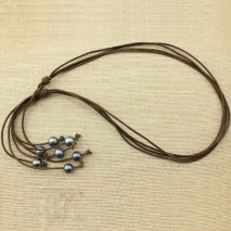 Dark brown leather cord pearl tassel necklace, pearl necklace, ETS - S113