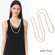 Aobei Pearl Handmade Necklace made of Freshwater Pearl and Cotton Thread, Knotted Pearl Necklace, ETS-S114