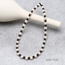 Aobei Pearl Cultured Freswhater Pearl Choker Handmade Beaded Jewelry for Women, Fashion Knotted Leather Necklace, Pearl Necklace, ETS-S115