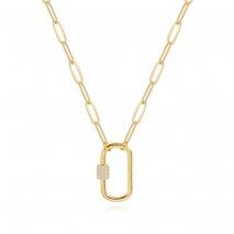 Aobei Pearl, 18K Gold Paperclip Chain Necklace Fashion CZ Pave Oval Screw Lock Carabiner Clasp Pendant Necklace Geometric Link Chain Layering Jewelry for Women Girls,ETS-S1160