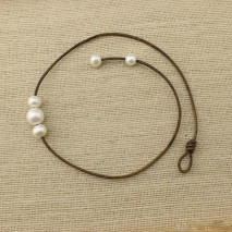 Aobei Pearl, Handmade Necklace with Freshwater Pearl and Genuine Leather, Personal Necklace, Pearl Necklace, ETS-S132