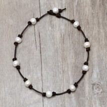 Aobei Pearl, Handmade Necklace or Bracelet on Pearl & Leather Cord, Pearl Necklace, Pearl Choker, ETS-S151-1