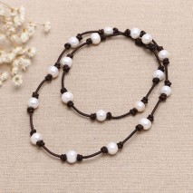 Aobei Pearl, Handmake Fashion Freshwater Pearl Necklace & Leather Necklace, ETS-S151