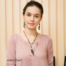 Aobei Pearl Handmade Necklace made of Genuine Leather Cord, Freshwater Pearl and Shell Feather, Pendant Necklace, Leather Pearl Necklace, ETS-S157