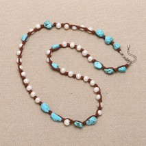 White freshwater pearls with turquoise necklace ETS-S183