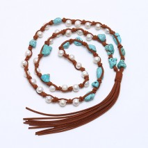 White freshwater pearls with turquoise necklace ETS-S184