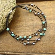 10-11MM Potato pearl peacock blue pearl necklace 8mm turquoise necklace Leather cord necklace,ETS-S219