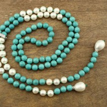 White Pearls Necklace,Women long Necklace, Turquoise Necklace ,Genuine Freshwater Pearls,9-10mm Potato Pearls,12-13mm Rice Pearls,ETS-S223