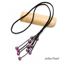Aobei Pearl Handmade Necklace made of Braided Suede and Freshwater Pearl, Pearl Necklace, Tassel Necklace, ETS-S228