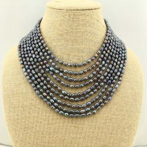 Multi strand black pearl beaded necklace, chunky necklace, pearl necklace, ETS-S232