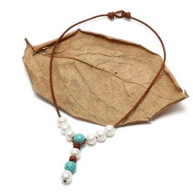 Aobei Pearl, Handmade Necklace made of Potato & Rice White Freshwater Pearl, Turquoise Pendant on Leather, ETS-S256