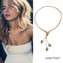Aobei Pearl Handmade Necklace made of 11-12 mm Natural Potato Bronze Freshwater Pearl with 2.5 mm Hole and Golden Genuine Leather Cord, Lariat Necklace, Pearl Necklace, ETS-S257