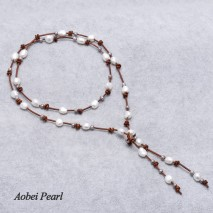 Aobei Pearl Handmade Necklace made of Freshwater Pearl & Genuine Leather Cord, Knot Scarf Necklace, Pearl Necklace, Leather Necklace, ETS-S263