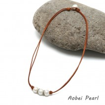 Aobei Pearl, Handmade White Freshwater Pearls and Leather Necklace, Pearl Necklace, ETS-S229