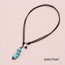 Aobei Pearl - Handmade Necklace made of 11-12 mm White Potato Freshwater Pearls, Turquoise and Genuine Leather Cord, Pearl Necklace, ETS-S285