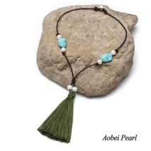 Aobei Pearl, Handmade Necklace made of Freshwater Pearl, Genuine Leather Cord, Turquoise and Cotton Thread Tassel, Pearl Necklace, Tassel Necklace, ETS-S286