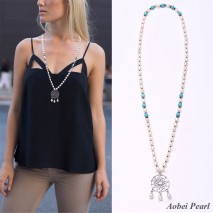 Aobei Pearl Handmade Necklace made of White Freshwater Pearl, Turquoise and Alloy Accessory, Knots Beaded Necklace, Pearl Necklace, ETS-S289