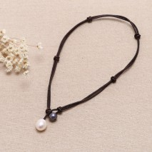 Aobei Peal, Handmade Knots Necklace, Pearl Necklace, Leather Necklace, Fashion Necklace, ETS-S291