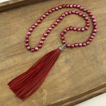8-9mm Baroque pearls necklace wine red color necklace,Genuine Freshwater Pearl,ETS-S292