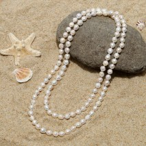 Three wrap pearl beaded necklace, pearl necklace, wrap necklace, long pearl necklace, ETS - S305