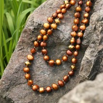Antique brown 9-10 mm baroque freshwater pearl long necklace , party necklace fashion women necklace ETS-S358