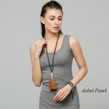 Aobei Pearl Handmade Necklace made of 7-8 mm Brown Baroque Freshwater Pearl, Alloy Accessory and Cotton Thread Tassel,  Long Tassel Necklace Pearl Beaded Necklace, ETS-S377