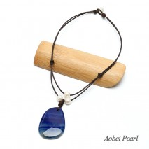 Aobei Pearl Handmade Necklace made of Freshwater Pearl, Genuine Leather Cord and Natural Agate Pendant, Leather Pearl Necklace, ETS-S451