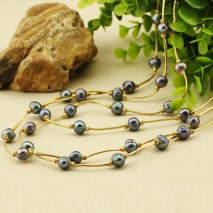 Aobei Pearl - Handmade Necklace with Peacock Blue Pearl & Golden Leather Cord, Pearl Necklace, ETS-S472