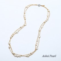 Aobei Pearl Handmade Necklace made of Freshwater Pearl and Genuine Leather Necklace, Wrap Necklace, Pearl Necklace, ETS-S481