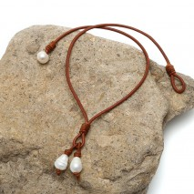 Aobei Pearl - Handmade leather string pearl necklace ETS-S490