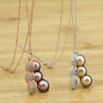 925 Sterling Silver Pearl Pendant Necklace with Lucky Peanut Design